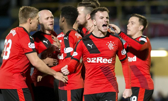 Rangers FC via Press Association Images Rangers' Andy Halliday celebrates Kenny Miller's goal during the Ladbrokes Championship match at Cappielow, Greenock.